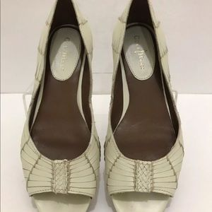 COLE HAAN IVORY LEATHER FLATS WOVEN PEEP TOE